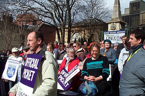 A rally of the trade union UNISON in Oxford during a strike on 28 March 2006. Unison strike rally Oxford 20060328.jpg