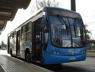 Busscar - Urbanuss Pluss operating in Santiago under Transantiago project