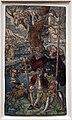 Urs graf il vecchio, due mercenari e una donna con la morte in un albero, xilografia colorizzata, 1524.jpg