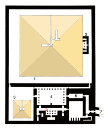Map of Userkaf complex, caption numbers are from top (north) to bottom (south) and left (west) to right (east).