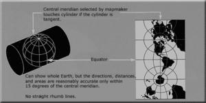 Transverse Mercator projection - A transverse Mercator projection