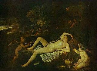 Vénus dormant avec l'Amour