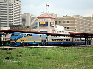 Via Rail - A Via train at the station in London, Ontario.