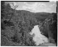 VIEW SOUTH - Tower Suspension Bridge, Spanning Yellowstone River at Yellowstone River Trail, Mammoth, Park County, WY HAER WYO,15-MAHOSP.V,2-1.tif