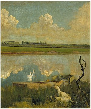 Museum van Deinze en de Leiestreek - Geese on the Leie by Valerius de Saedeleer