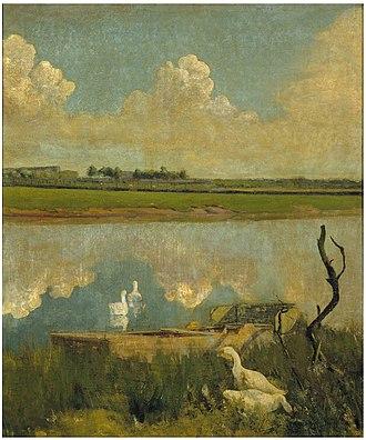 Museum van Deinze en de Leiestreek - Geese on the Leie by Valerius de Saedeleer