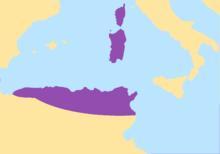 Carte de la Méditerranée centrée sur la Sardaigne, en violet les terres des Vandales