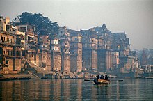 Buildings on the bank of the River Ganges in Varanasi