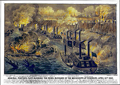 Grant's gamble: Porter's gunboats running the Confederate gauntlet at Vicksburg Published 1863 VicksburgBlockade.jpg
