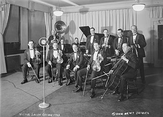 Nathaniel Shilkret - Shilkret (center holding baton) with the Victor Salon Orchestra, c. 1925