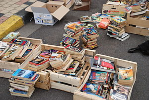 Books during a flea market.