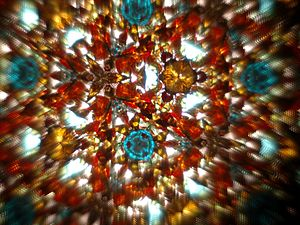 A multi-colored view of a kaleidoscope