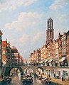 View on the Oudegracht, Utrecht, by Petrus Gerardus Vertin.jpg