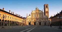 Vigevano's famous Piazza Ducale, with the Cathedral façade