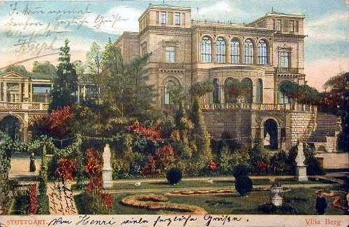 Villa Berg, Ansicht von Westen, koloriert, um 1910