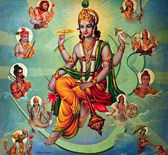 Avatar - Hindu god Vishnu surrounded by his Avatars.
