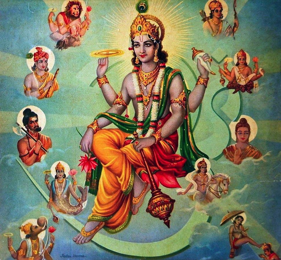 Vishnu Surrounded by his Avatars
