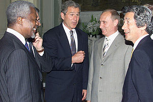 Junichiro Koizumi - Koizumi with Kofi Annan, George W. Bush and Vladimir Putin, 20 July 2001