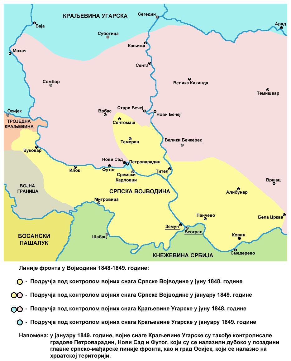 Vojvodina front lines 1848 1849-sr