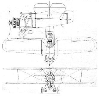 Vought O2U Corsair - Vought O2U-2 3-view drawing from Aero Digest November 1928