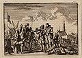 Vriendschappelijke ontmoeting van Spaanse en Hollandse soldaten tijdens een wapenstilstand bij het beleg van Breda door prins Frederik Hendrik (Jan Luyckyen, 1698).jpg