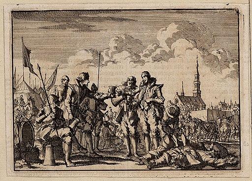 Vriendschappelijke ontmoeting van Spaanse en Hollandse soldaten tijdens een wapenstilstand bij het beleg van Breda door prins Frederik Hendrik (Jan Luyckyen, 1698)