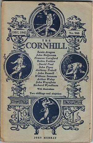 Cornhill Magazine - William James Linton's design of the front of The Cornhill Magazine, this copy from December 1945.