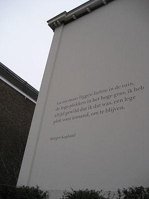 Gerrit Noordzij - Wall poem by Rutger Kopland in The Hague. Letter: Ruse by Gerrit Noordzij