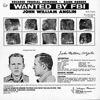 Mug shot - FBI wanted poster with a mug shot of Alcatraz escapee John Anglin