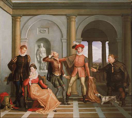 "Washington Allston, American - Scene from Shakespeare's ""The Taming of the Shrew"" (Katharina and Petruchio) - Google Art Project"