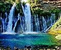 Water out of Rock, Burney Falls, CA 9-06 (30474320625).jpg