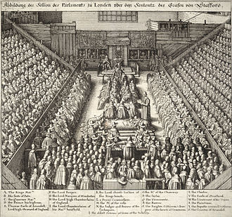Thomas Wentworth, 1st Earl of Strafford - Detailed engraving of trial of Strafford by Wenceslas Hollar, labelling various people who were present.