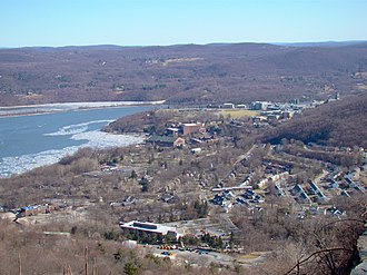 U.S. Route 9W - West Point viewed from 9W just before passing over Crow's Nest