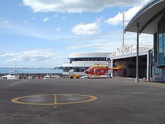 Auckland Rescue Helicopter Trust - The Auckland helicopter at its base in Mechanics Bay.