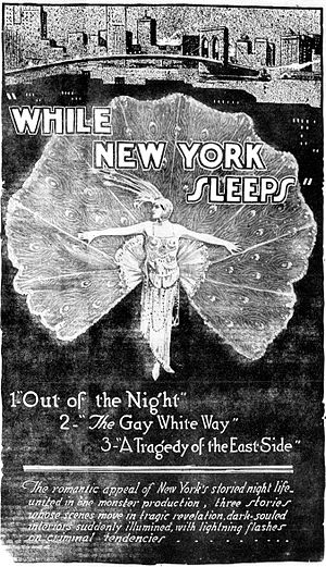 While New York Sleeps - A poster from a newspaper.