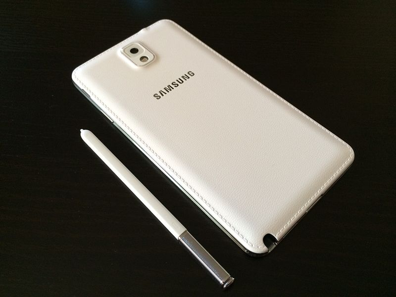 File:White Samsung Galaxy Note 3 (rear and pen).jpg