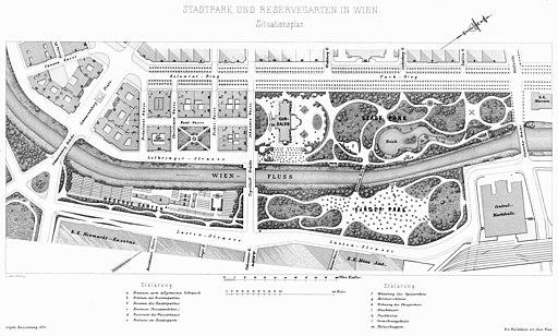 Wien Innere Stadt Stadtpark und Reservegarten Lageplan (1872)