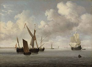 Willem van de Velde the Younger - A galjoot and a smalschip at anchor approached by a small kaag....jpg