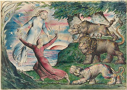 William Blake, Dante running from the three beasts, 1824 William Blake - Dante running from the three beasts - Google Art Project.jpg