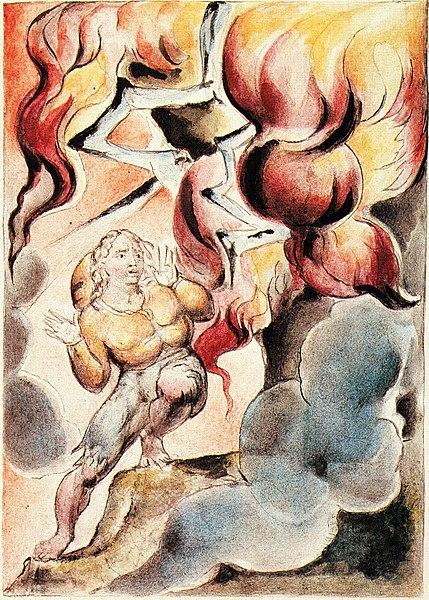 File:William Blake - John Bunyan Plate 8 Christian Fears the Fire from the Mountain.jpg