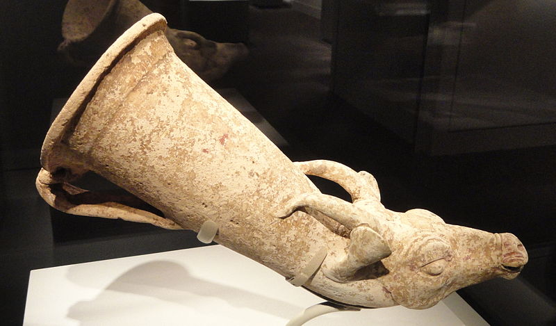 File:Wine horn with a gazelle protome, Iran or present-day Turkey, Achaemenid period, 6th-4th century BC, earthenware and paint - Arthur M. Sackler Gallery - DSC05814.JPG