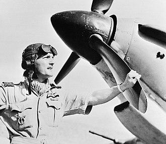Frank Reginald Carey - Carey, with his Hurricane, RAF Amarda Road, India in April 1943.