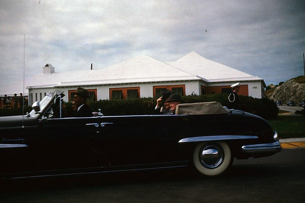 Winston Churchill visiting Bermuda for the Wetern Summit in December 1953