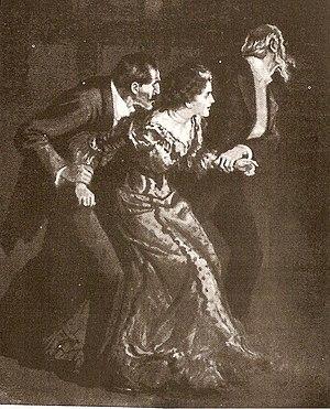 The Adventure of Wisteria Lodge - Murillo confining Miss Burnet.