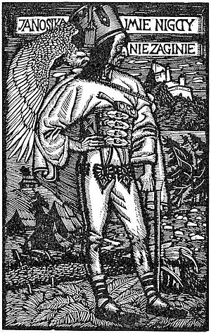 "Juraj Jánošík - Wood engraving by Władysław Skoczylas, which reads, ""The name of Janosik will never perish""."