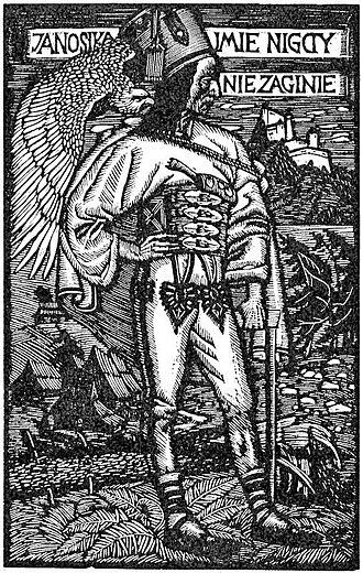 """Juraj Jánošík - Wood engraving by Władysław Skoczylas, which reads, """"The name of Janosik will never perish""""."""