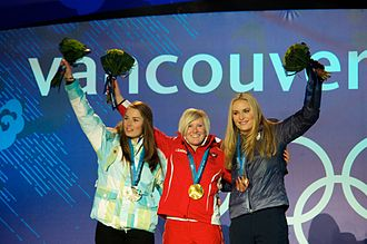 From left to right: Tina Maze of Slovenia (silver), Andrea Fischbacher of Austria (gold), and Lindsey Vonn of the U.S. (bronze) with the medals they earned in the super-G Women's Super G podium at Whistler Creekside closeup.jpg