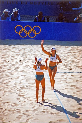 Beach volleyball at the Summer Olympics - Natalie Cook and Kerri Pottharst at the 2000 tournament.