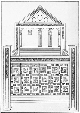 Chair of Saint Peter - The Pope's throne in St. Peter's Basilica, Vatican City, last publicly exposed in 1867. (From Wood Carvings in English Churches, 1910)