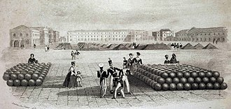 Board of Ordnance - The Grand Store, Woolwich, in 1841: cannons and shot were routinely stored in the open, while gun carriages and other perishable items were kept indoors.